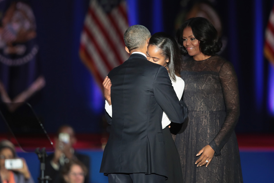 Obama embracing Daughter Sasha during Farewell Address