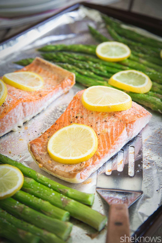 One pan salmon asparagus dinner