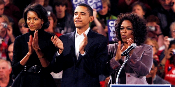 Michelle and Barack Obama and their good friend, Oprah