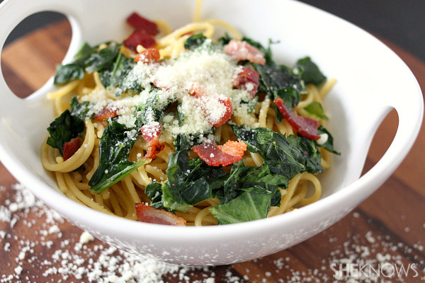 pasta with collard greens and bacon