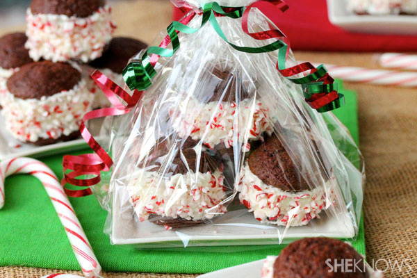 Peppermint candy whoopie pies filled with cream cheese frosting recipe