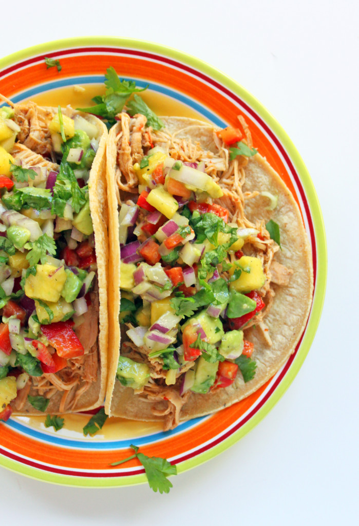 Pineapple lime chicken soft tacos