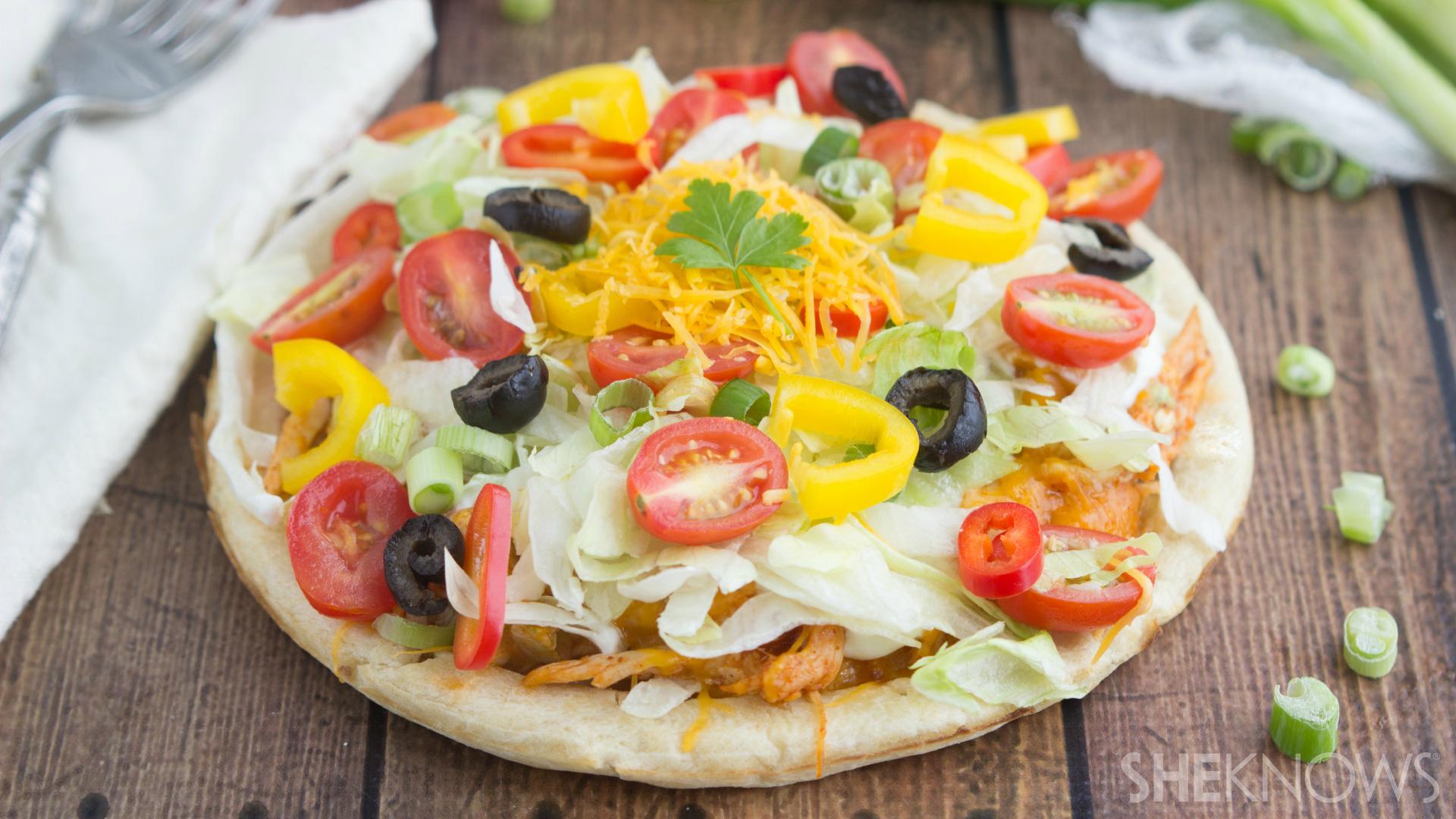 Easy chicken taco pizza