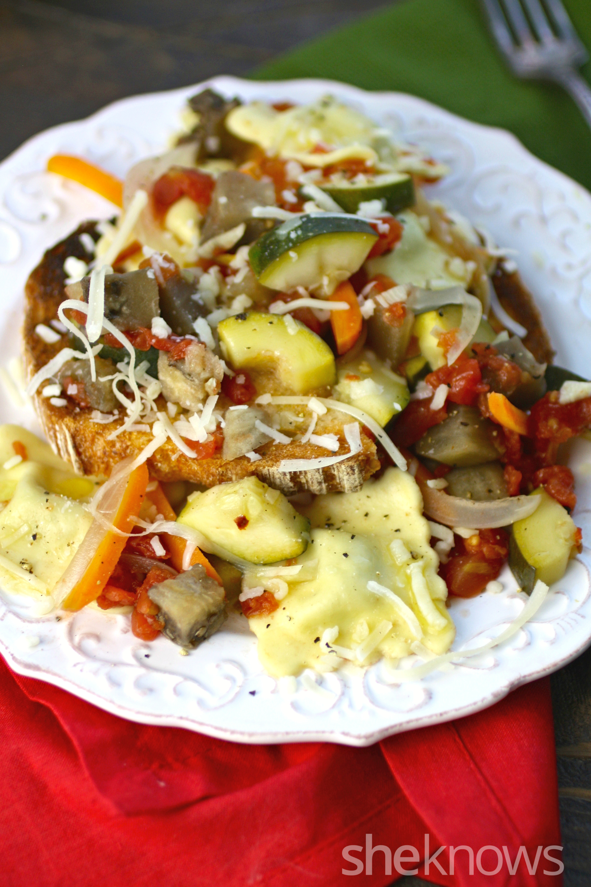 Slow cooker Sunday ratatouille over ravioli is a combo of both French and Italian favorites. It makes a great meal!