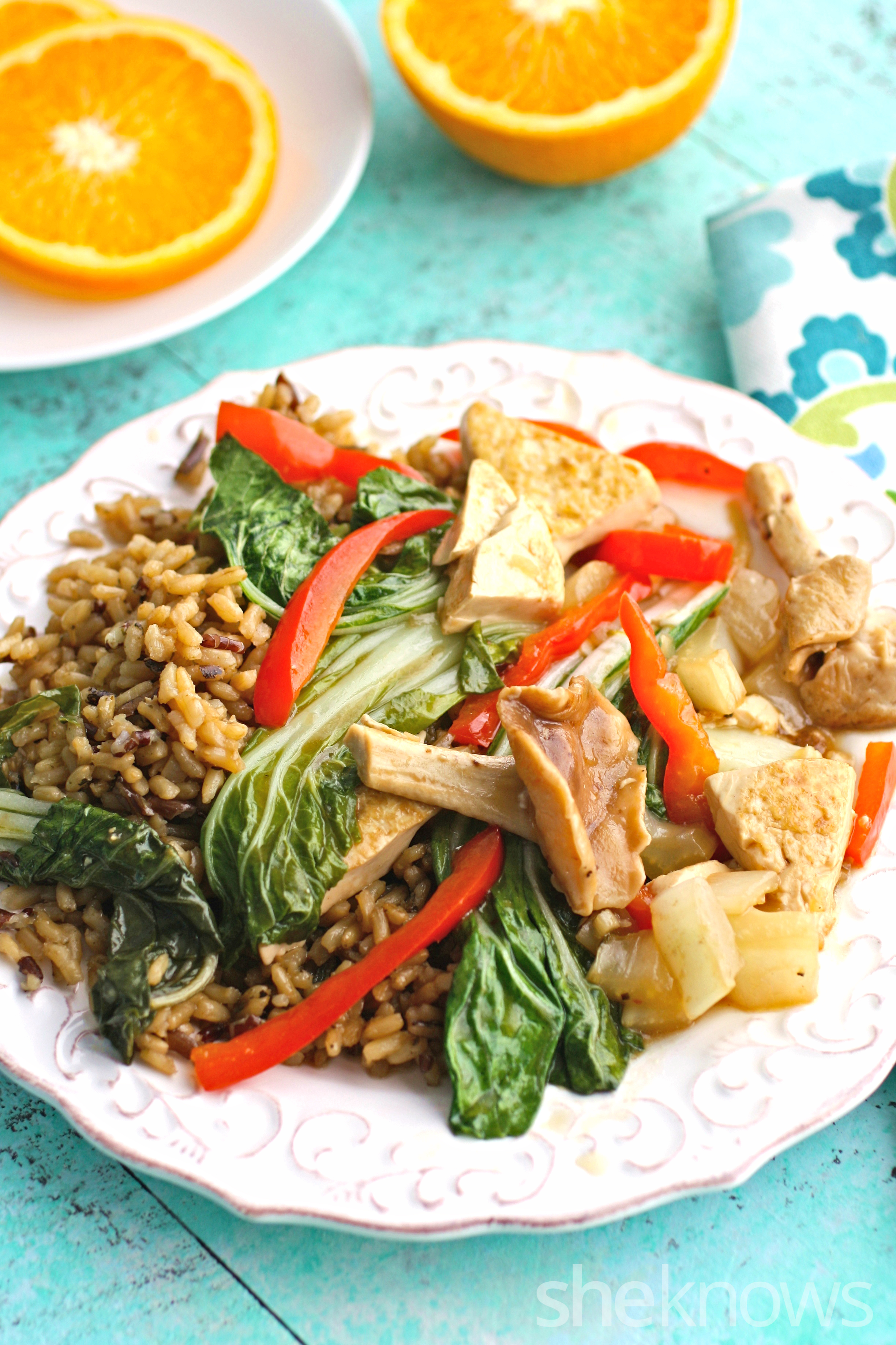 Gather a few friends for this delicious Meatless Monday dish of shiitake mushroom, bok choy, and tofu stir-fry!