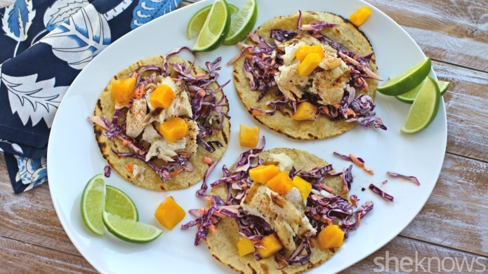 Grilled tilapia tacos with mango and