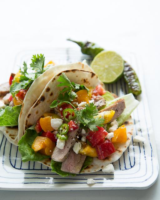 Pork and heirloom tomato tacos