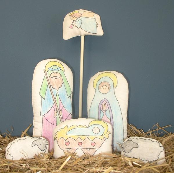 Hand-stitched nativity kit