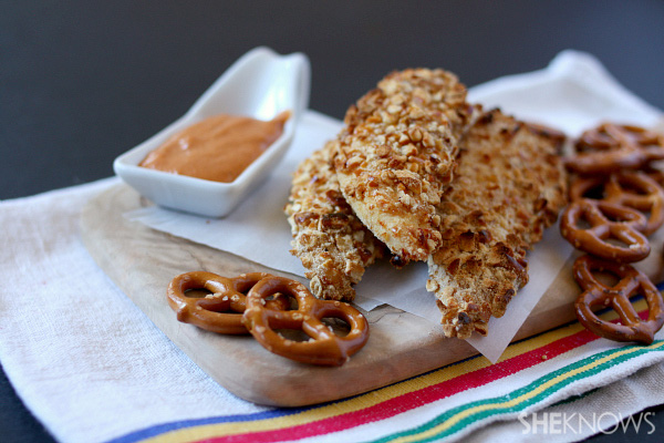 Pretzel crusted chicken with spicy mustard dipping sauce