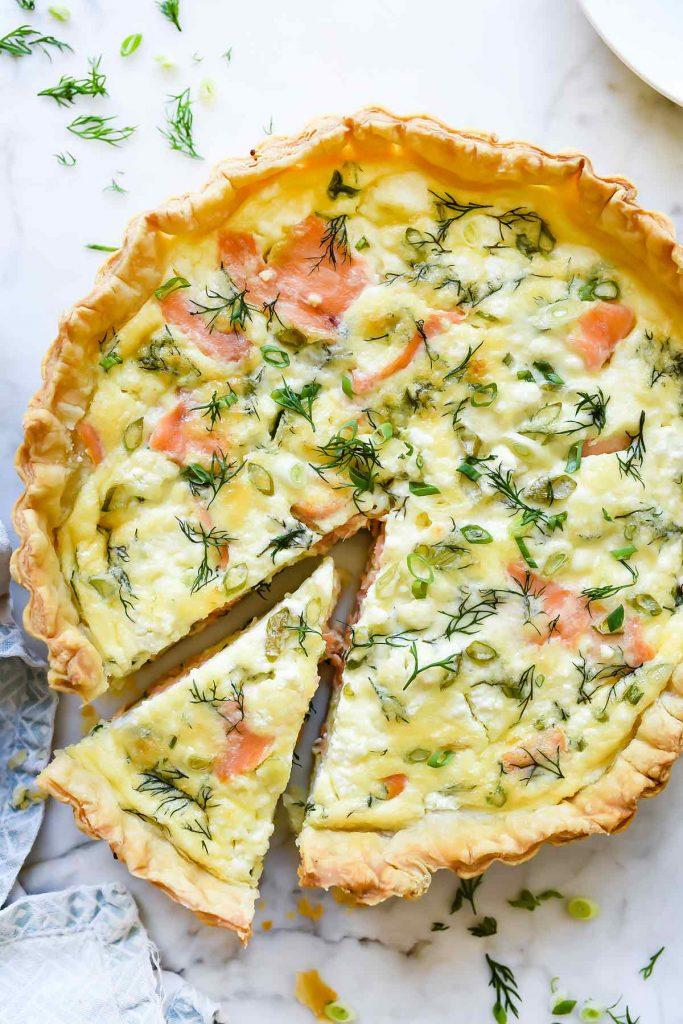 Puff pastry salmon quiche