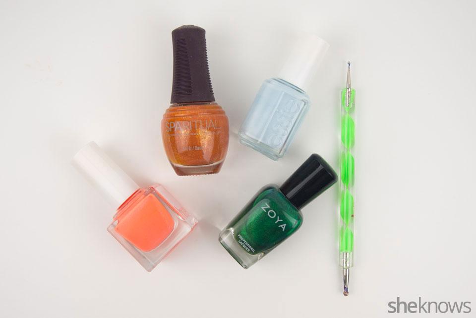 Cute pumpkin patch nail art: Supplies