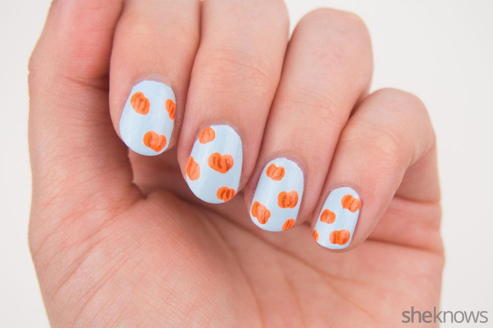 Cute pumpkin patch nail art: Step 2