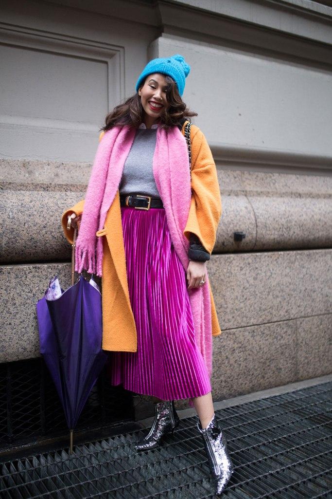 Dressing More Original: Purple Yellow and Gray Color Blocking