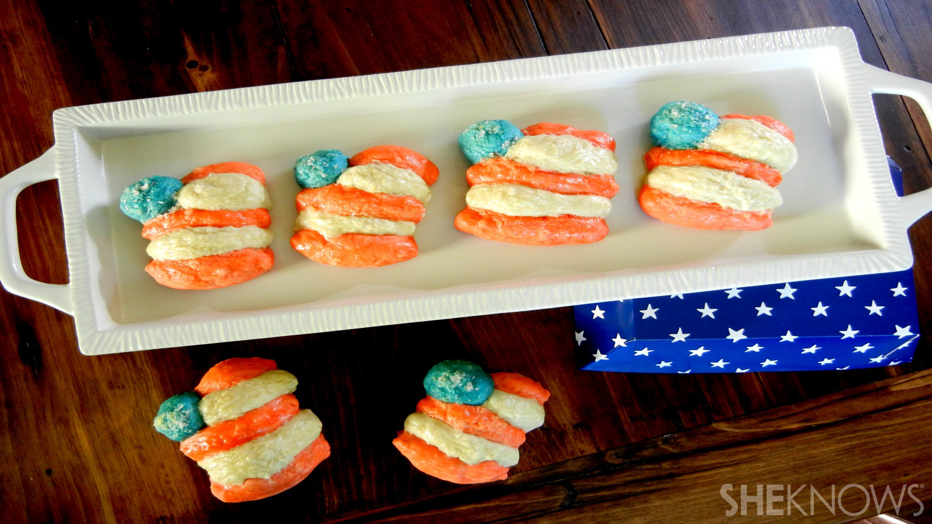 Flag Shaped Soft Pretzels for the 4th of July