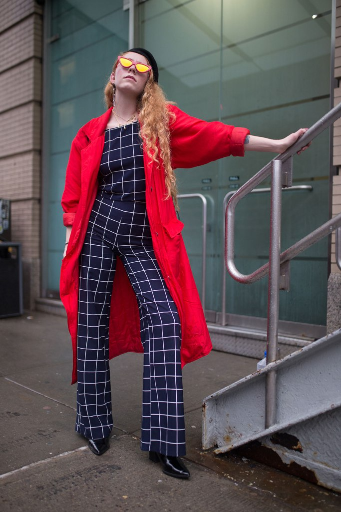 Dressing More Original: Red Trench with Navy Blue Print Outfit