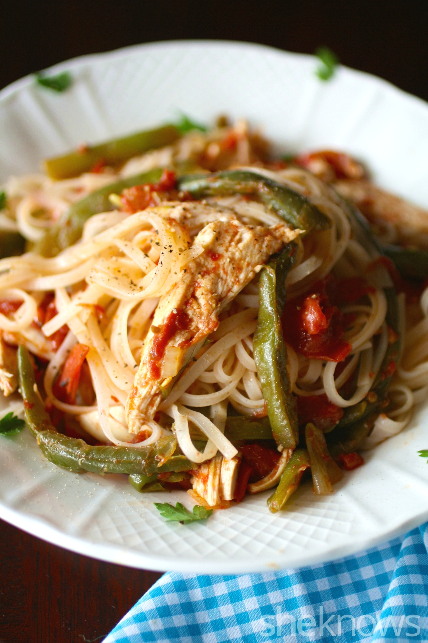 Serve something special that's super simple to make: 20-minute rice noodles with chicken in chili sauce