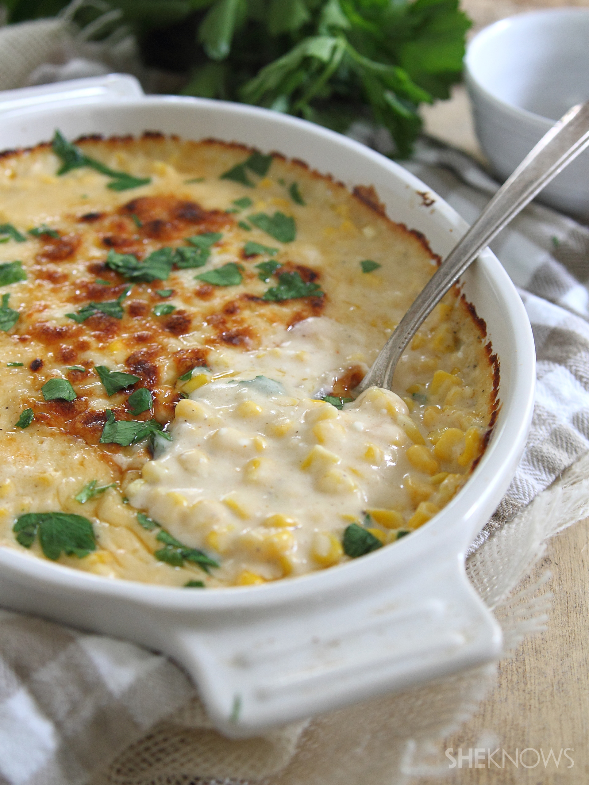Roasted garlic cheesy corn casserole