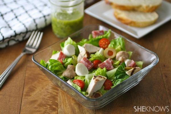 Italian chopped salad with basil vinaigrette