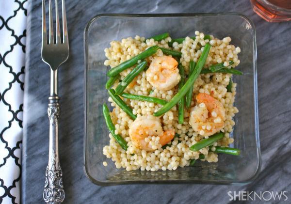 Shrimp, green bean and couscous salad