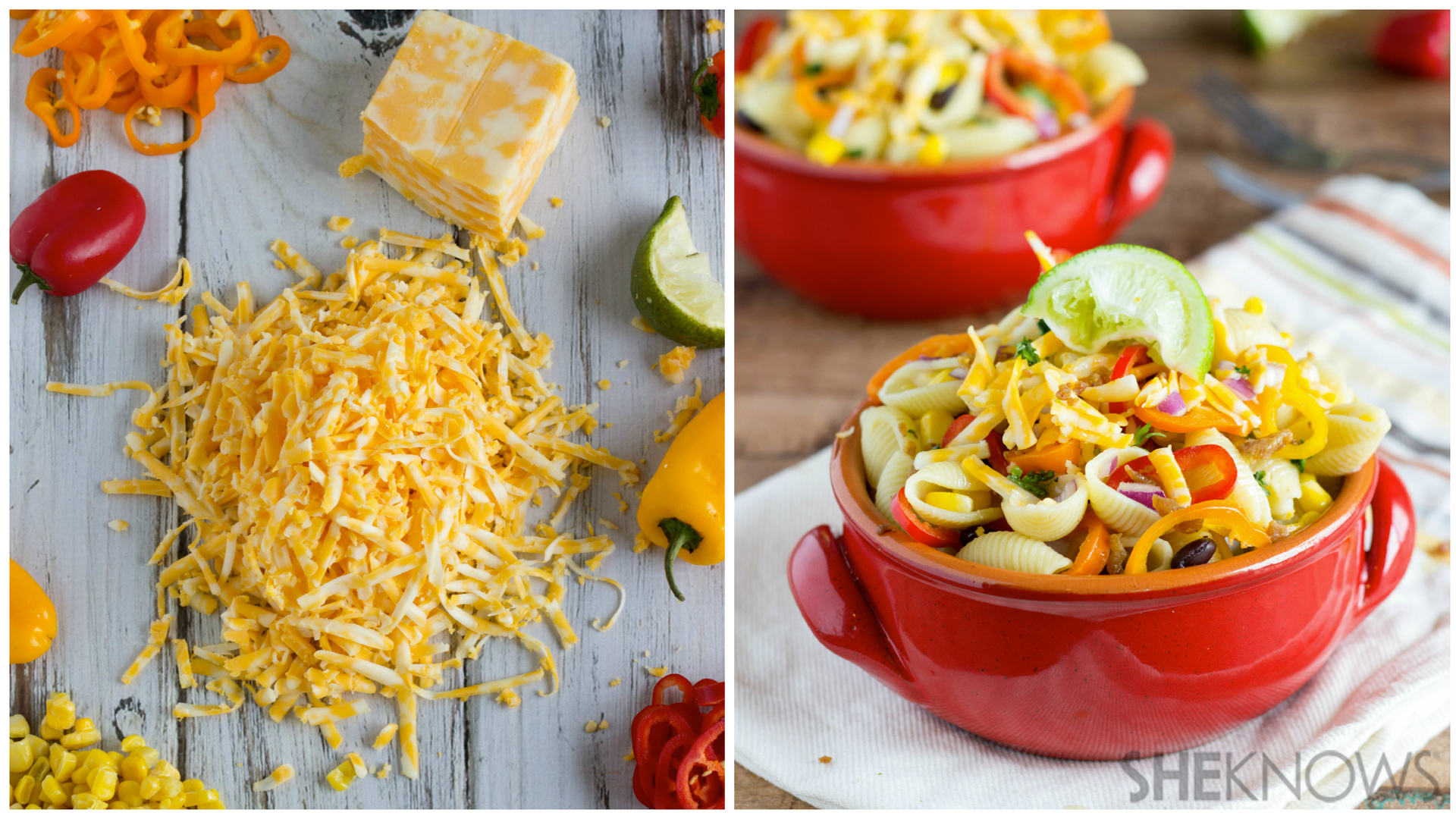 Simple one-pot pasta and veggie salad with a lime vinaigrette