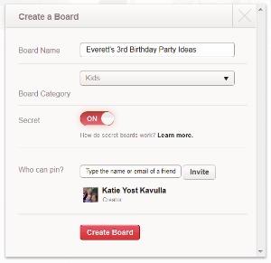 Create a secret Pinterest board