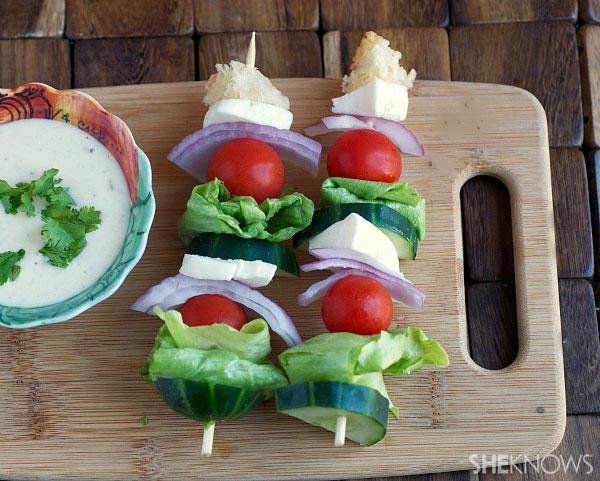 Salad kabobs with dressing dip