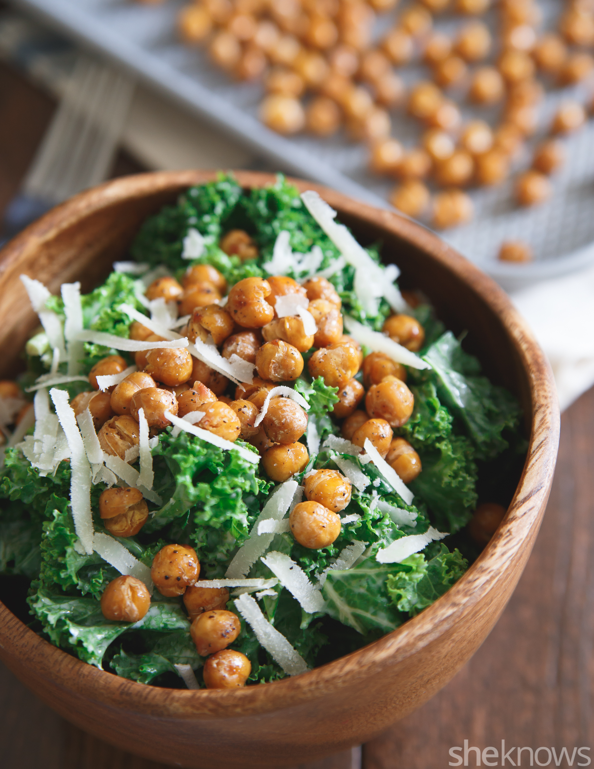 Salt and vinegar roasted chickpea caesar salad