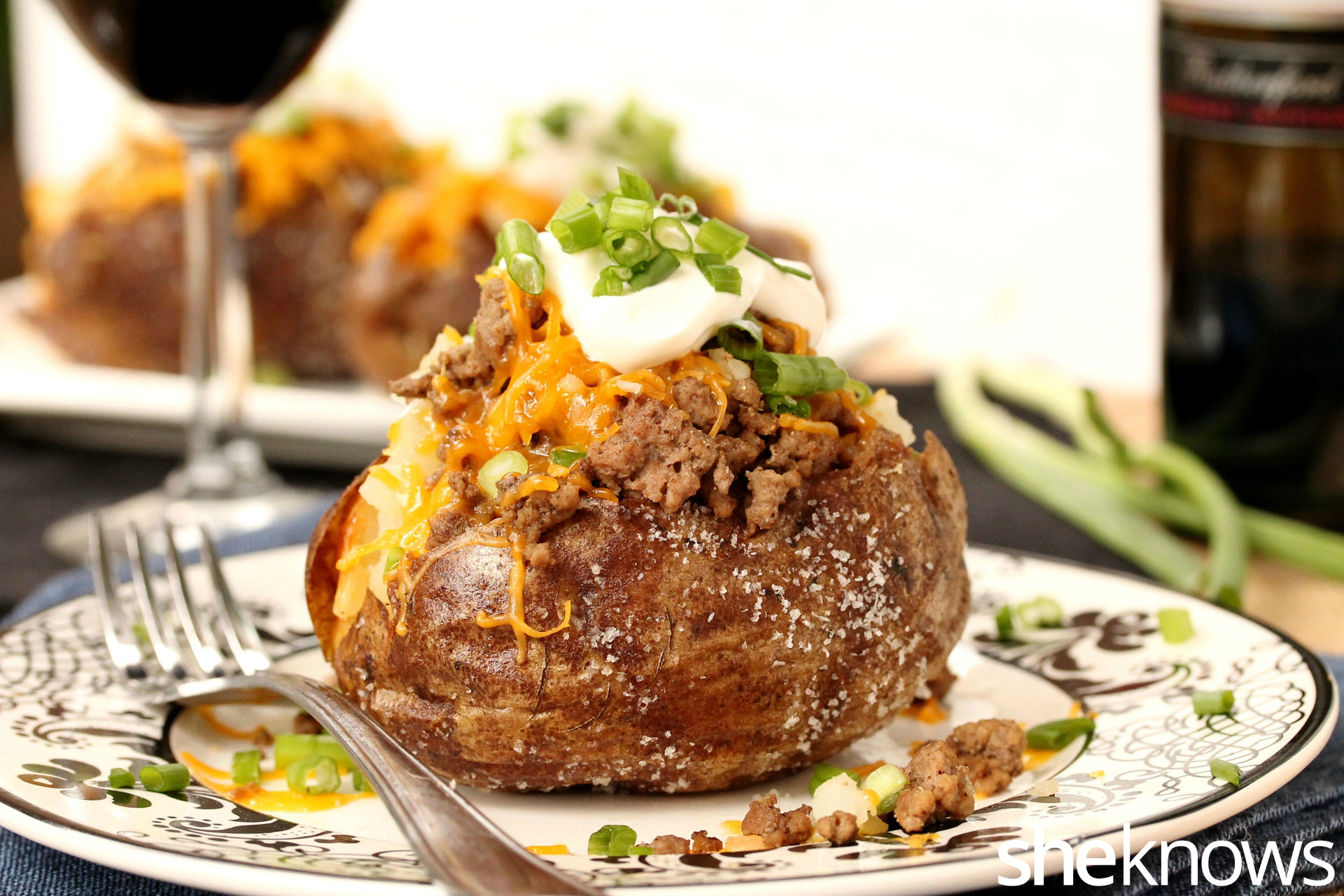 salt-crusted baked potato with ground beef