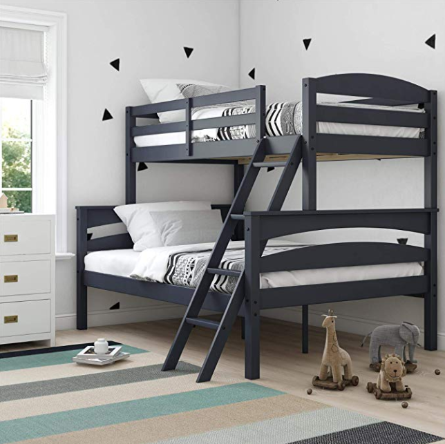 photo of black wood frame twin bunk beds