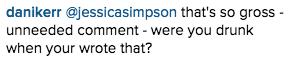 Jessica Simpson Instagram comment
