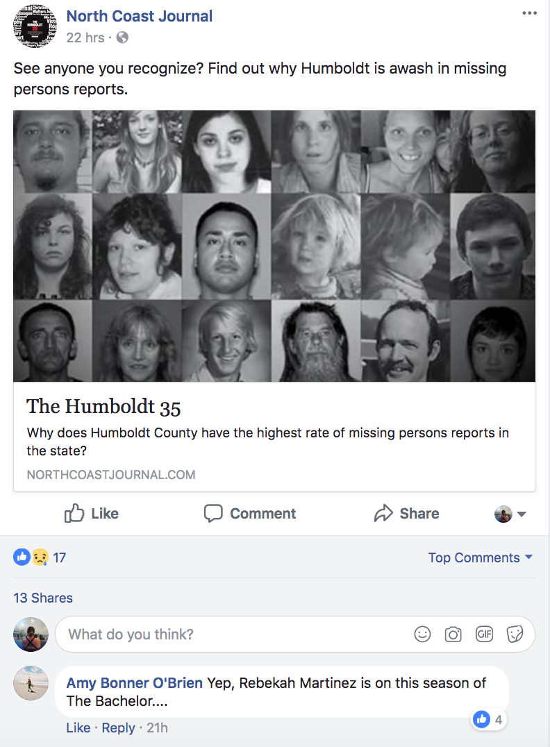 North Coast Journal Facebook post showing Bekah Martinez as a missing person