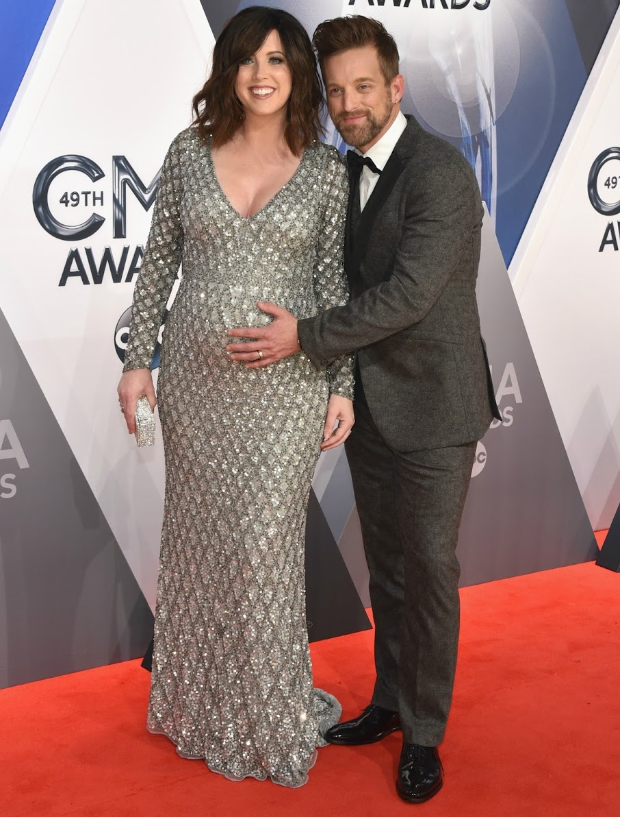 Musicians Shawna Thompson (L) and Keifer Thompson of Thompson Square attend the 49th annual CMA Awards