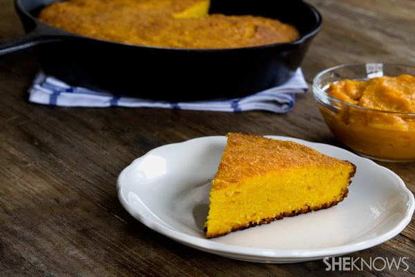 Gluten free sweet potato skillet cornbread