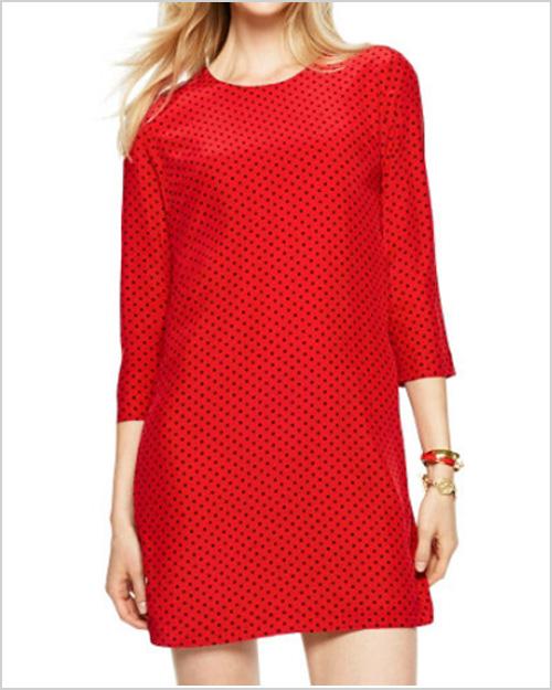 Silk Mini Dot Shift Dress in Red