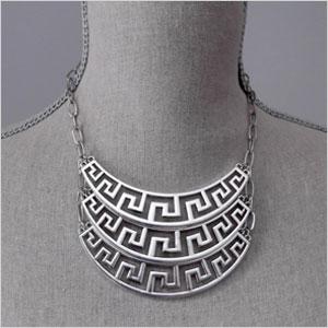 Silver greek necklace
