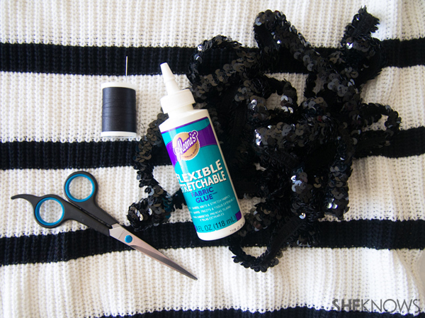 DIY Holiday sweater with sequin stripes | Sheknows.com -- supplies