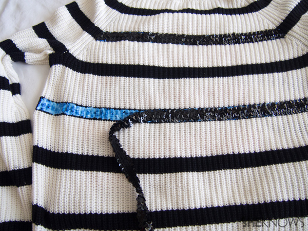 DIY Holiday sweater with sequin stripes | Sheknows.com -- glue