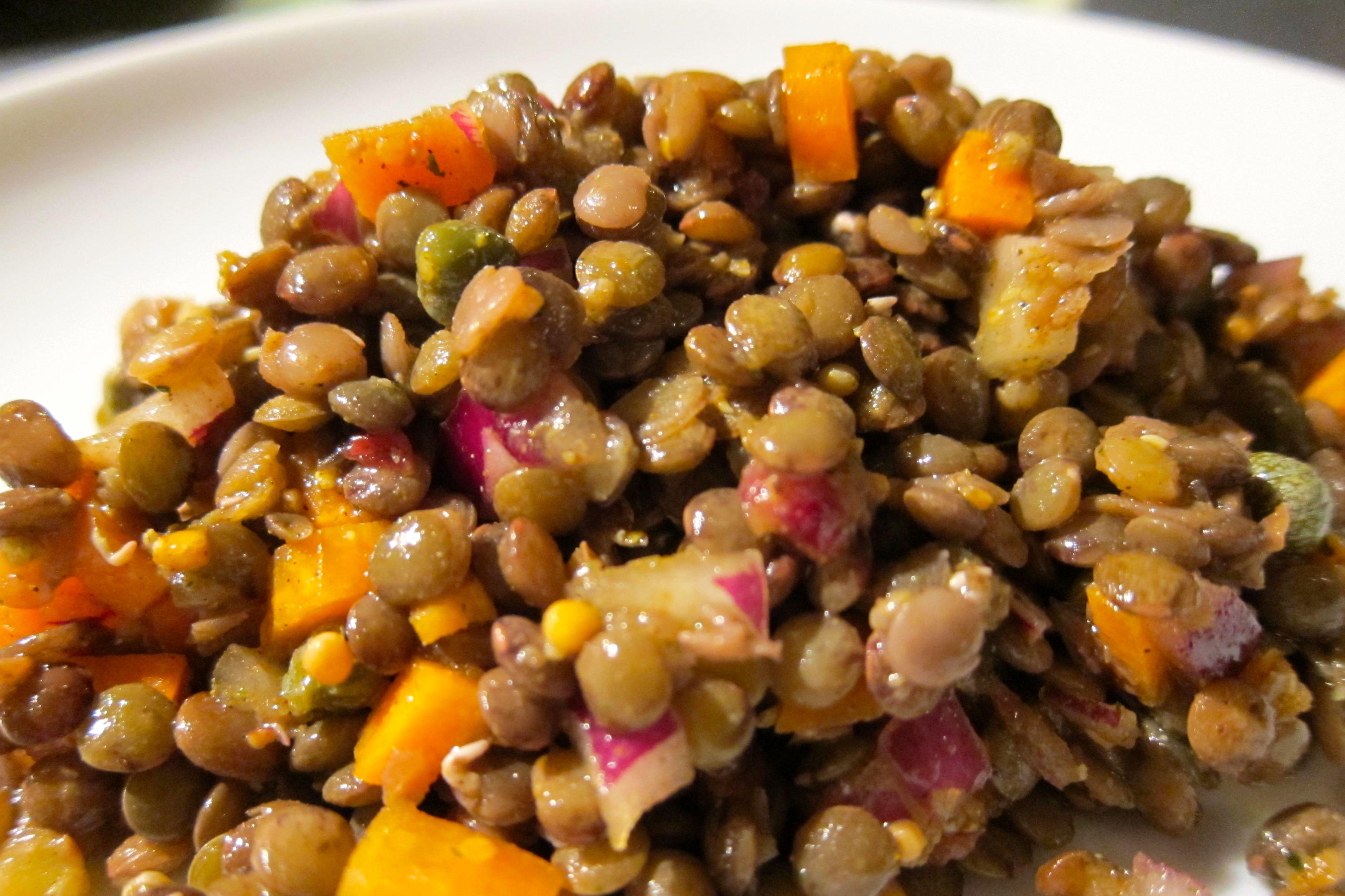 Spiced lentil salad