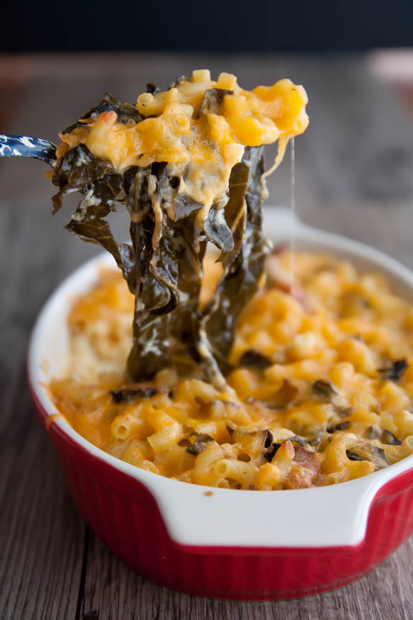 Spicy mac' and collards