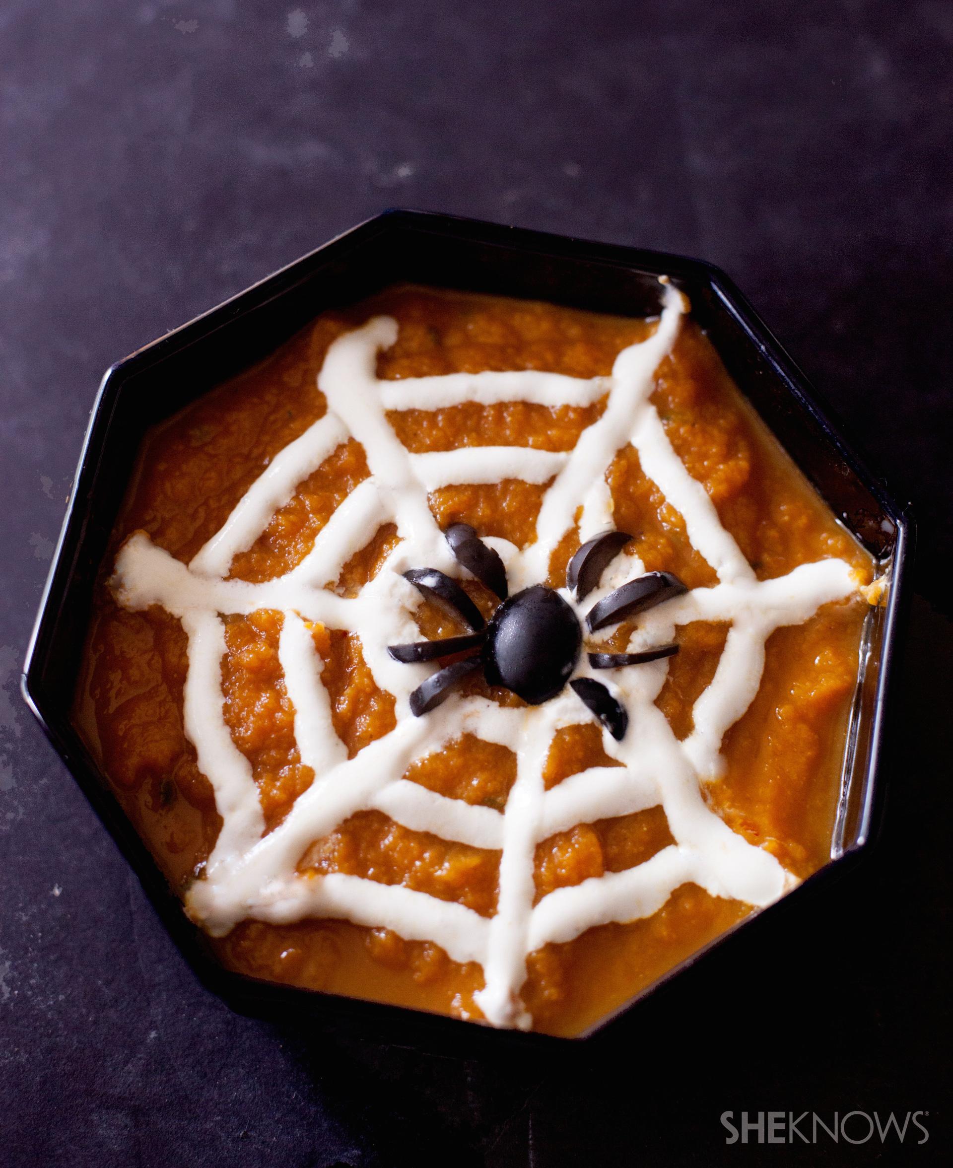 spiderweb pumpkin soup