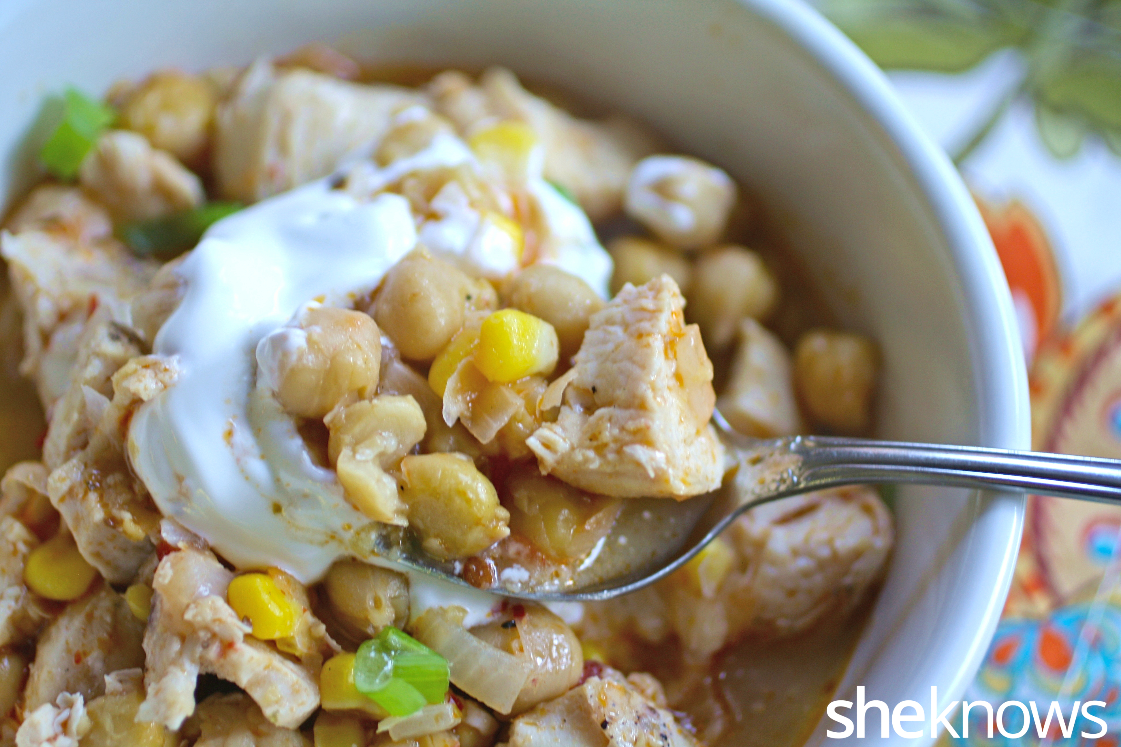 Grab a spoon to enjoy every bit of this hearty chickpea and chicken chili!