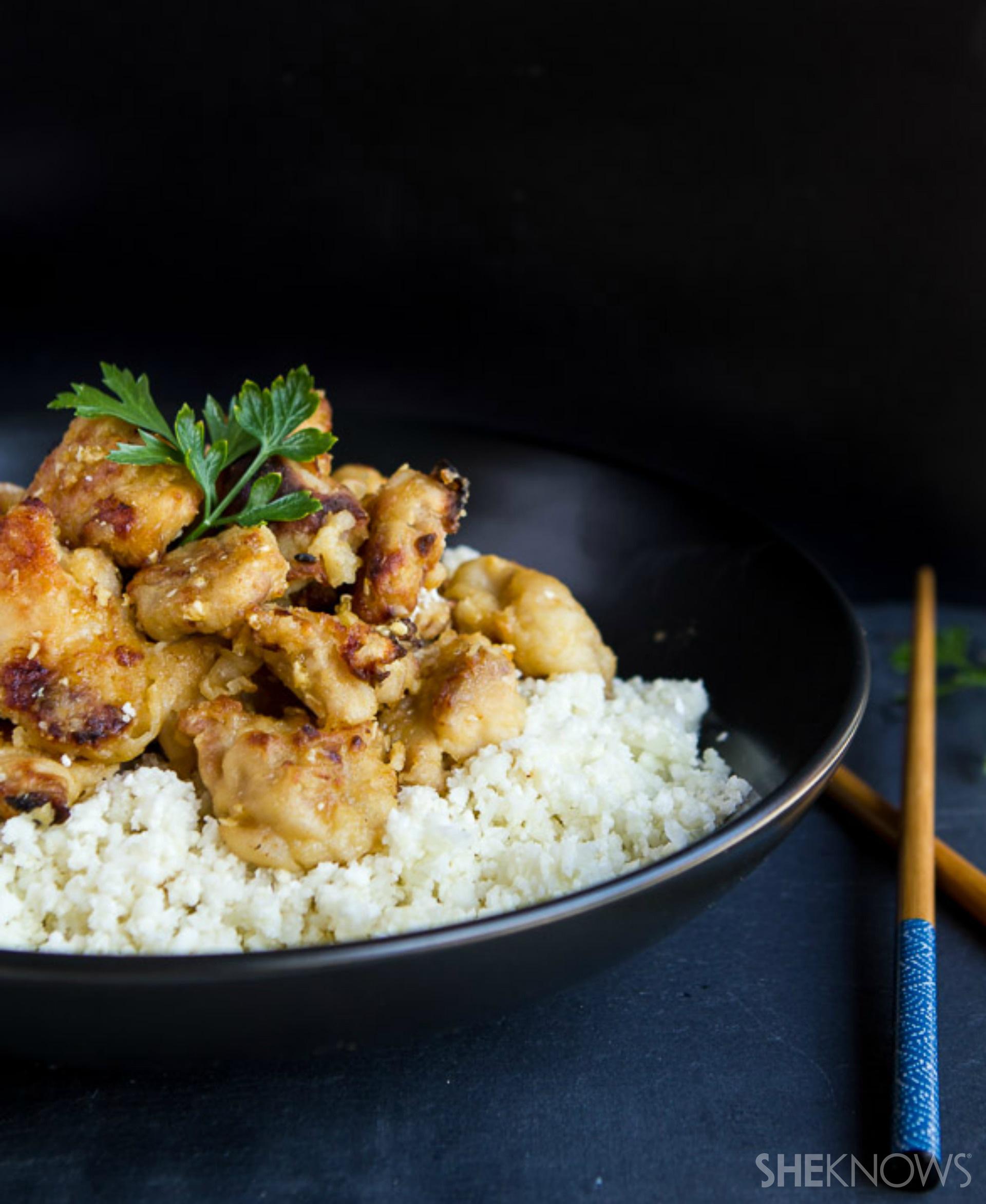 Slow cooker orange chicken with cauliflower rice