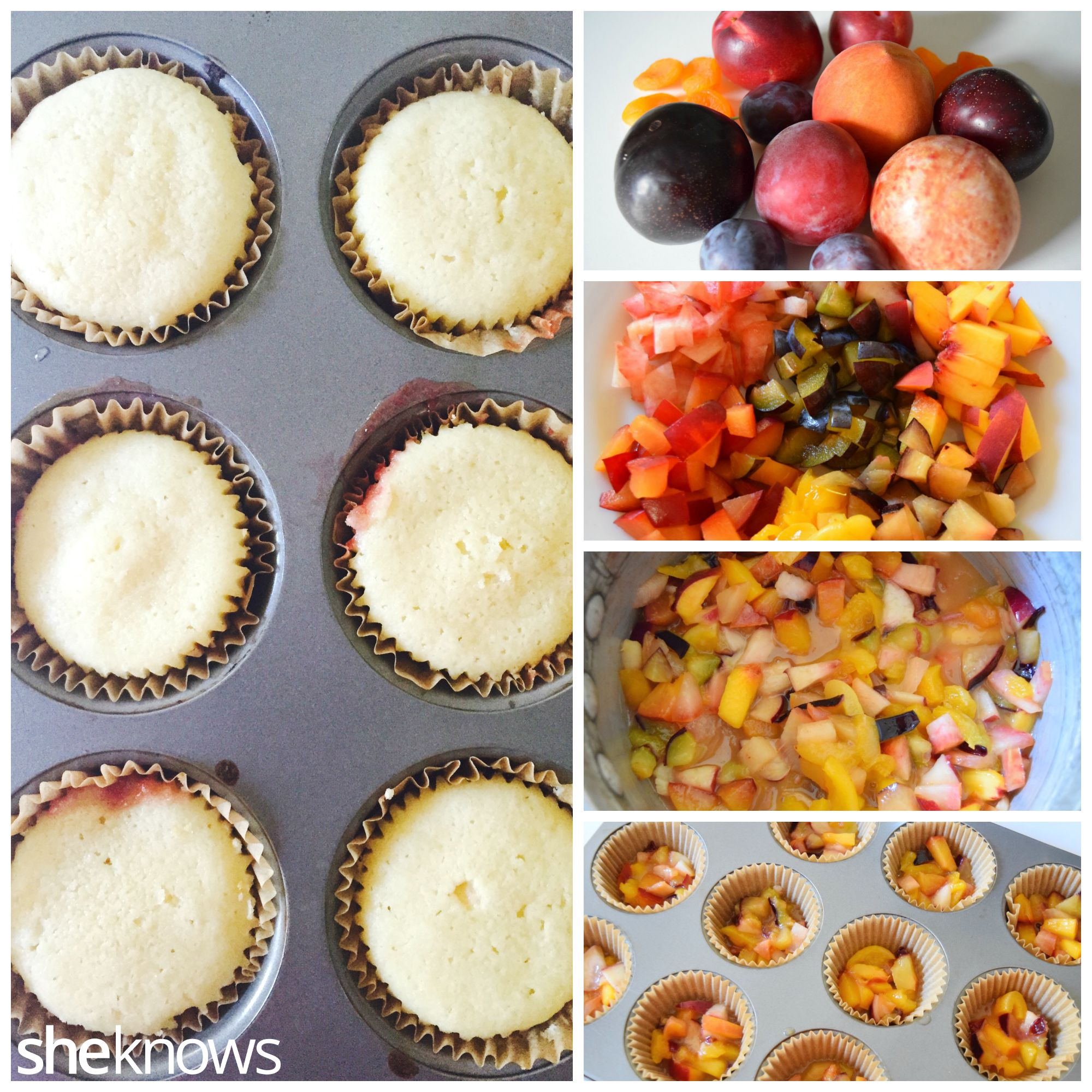Stone Fruit upside down cupcakes how to