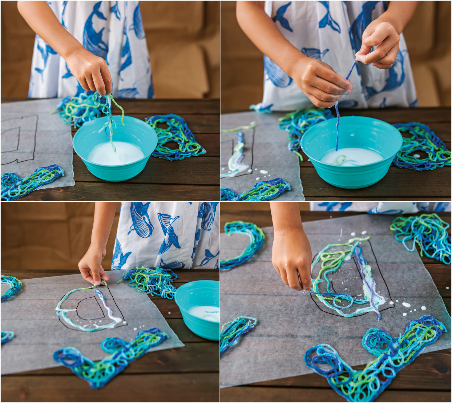 Have children dip yarn pieces into glue container