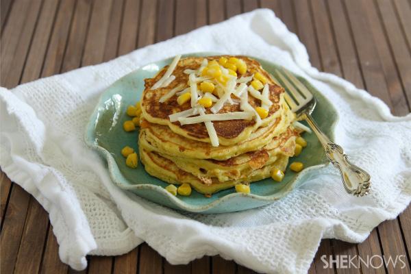 Sweet corn & cheddar pancakes