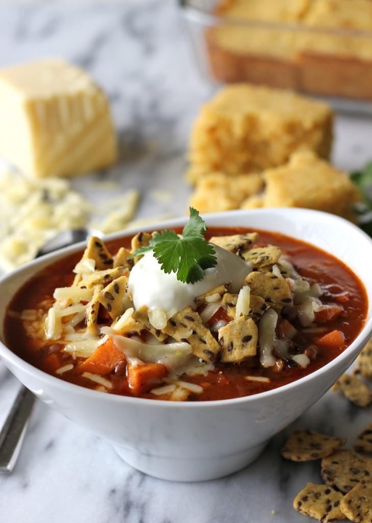 Sweet potato and lentil chili