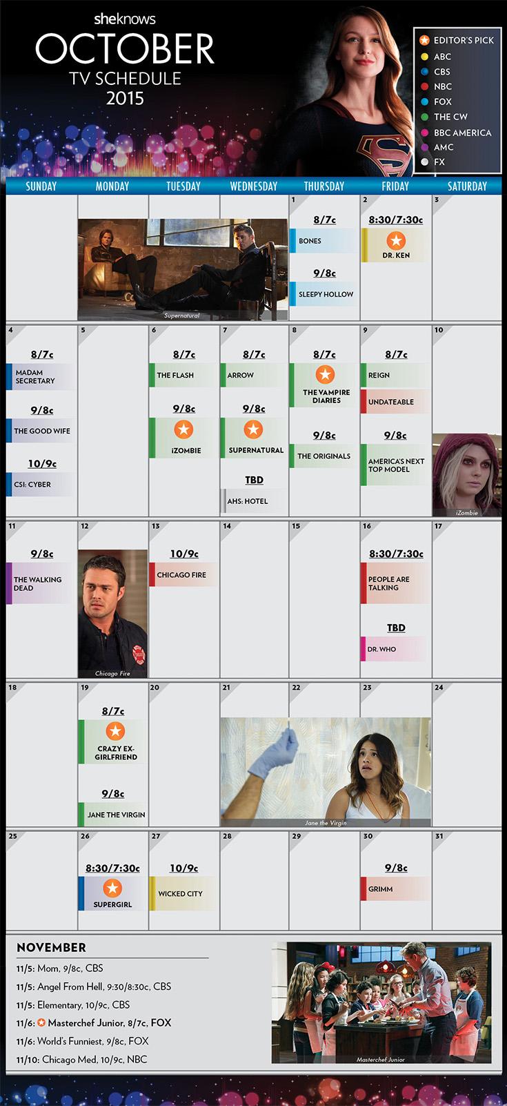 October 2015 TV Schedule