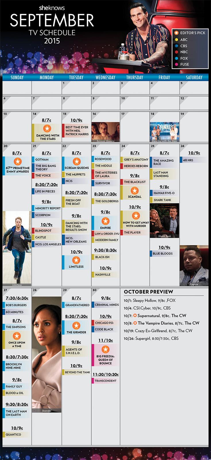 September 2015 TV Schedule