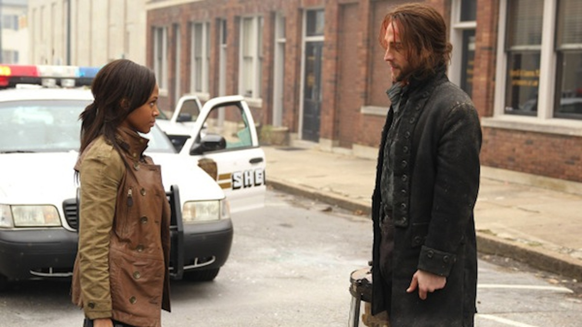 Ichabod and Abbie share a moment on Sleepy Hollow