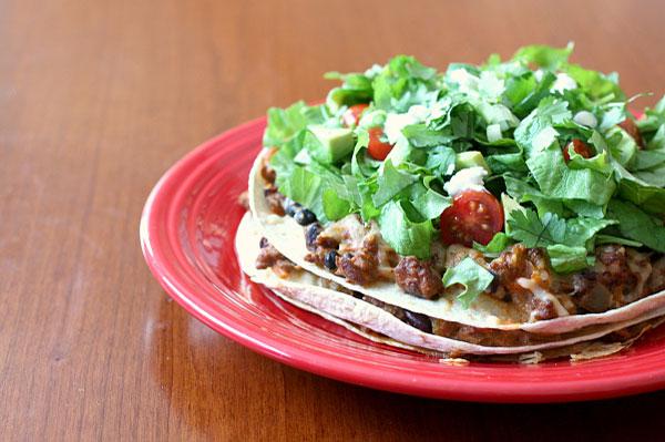 Homemade layered taco bake